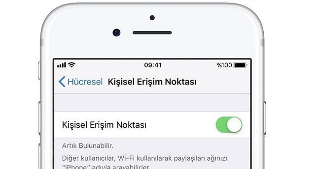 iphone kişisel erişim noktası