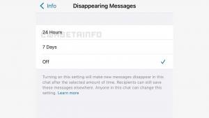 WhatsApp kaybolan mesajlar 24 saat seçeneği