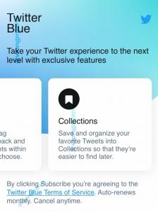 Twitter Blue koleksiyon özelliği