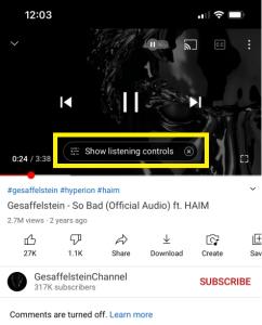 YouTube müzik dinleme arayüzü